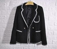 Модные твид casaco feminino, 2017 блейзер feminino, элегантный Женское пальто, плюс размер jaqueta feminina, 5XL 6XL женская черная куртка