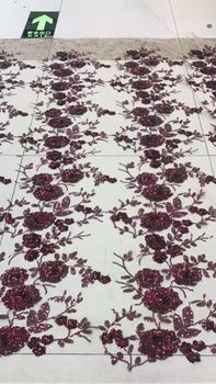 Rose flowers high quality tulle lace fabric With sequins LP51928-1 new design sequins lace
