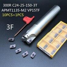 10PCS APMT1135 M2+1PCS 24mm milling cutter BAP300R C24 25 150 3T machining center tool holder carbide insert lathe cutter