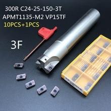 Apmt1135 m2 + 1 pç 24mm ferramenta, fresa de metal, cortador bap300r C24 25 150 3T, suporte de ferramenta de carbide, torno de inserção, 10 peças cortador de corte