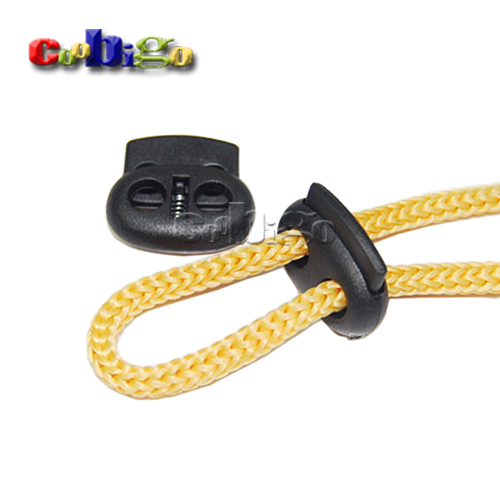 50pcs 5mm Hole Plastic Stopper Cord Lock Bean Toggle Clip Black Apparel Shoelace Sportswear Accessories #FLS003-B