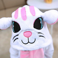 Winter Animal Kids Eenhoorn Pyjama Tiger Witte Kat Kind Cosplay Kostuums Pyjama Pyjama Nieuwigheid Jumpsuit Nachtkleding Halloween
