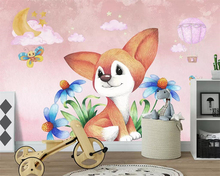 Beibehang Custom wallpaper cartoon hand-painted fox cloud hot air balloon children bedroom background decorative 3d