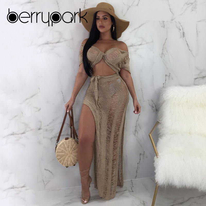 все цены на BerryPark Knitted Hollow Out High Split Skirt+Cover Up 2 PCS Set 2019 Women See Through Vacation Beach Swim Suit Party Club Wear
