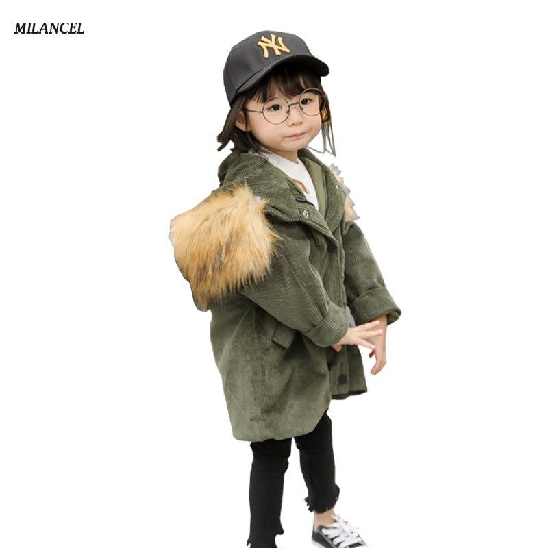 Milancel 2017 Kids Winter Clothes Fur Hooded Jackets For Girls Parkas Corduroy Baby Girl Warm Coat Thicken Children Parkas