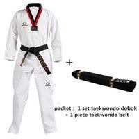 Adult & Child Taekwondo Uniform + Taekwondo Belt Taekwondo Dobok, Black V, WTF Martial Art/Karate/Taekwondo Belt
