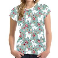 NoisyDesigns Bichon Frise Printed Vogue T Shirt Women O Neck Female Short Sleeve Summer Tee Tops