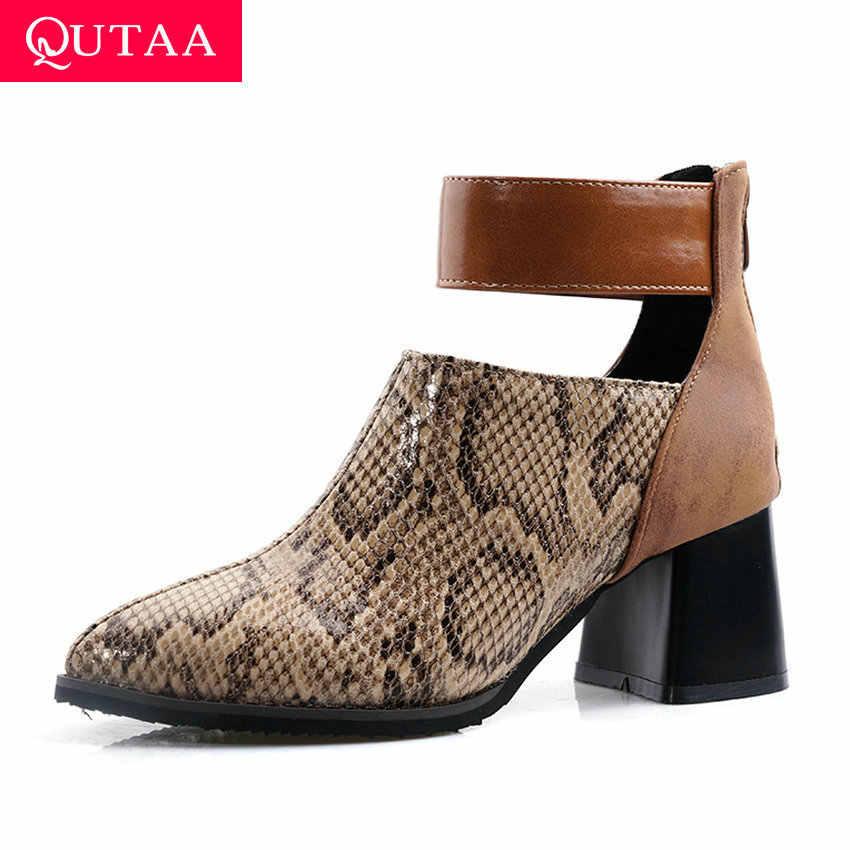 QUTAA 2020 Yılan Derisi PU Akın Rahat Kadın kısa çizmeler Fermuar Moda Sivri Burun Kalın Topuk Sonbahar Kış yarım çizmeler Size34-43
