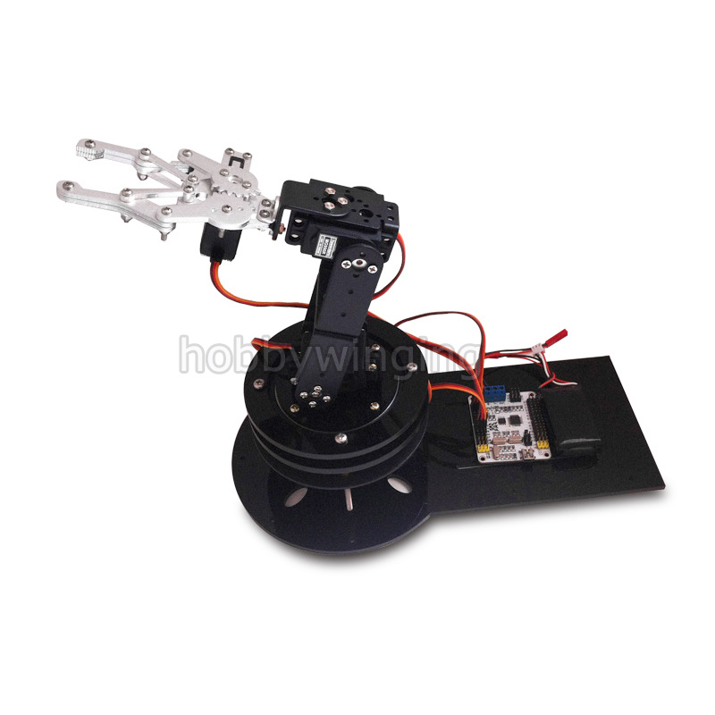 4 DOF Robot Mechanical Arm Claw & Swivel Stand Mount Kit w/digital Servos& 16CH Controller for Arduino Robotic Education 4 dof cnc aluminum robotic arm frame palletizing robot model 4 asix robot arm 4 servos