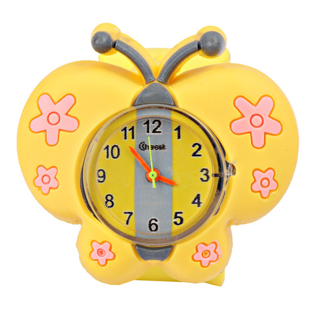 Fashion new children's silicone watch butterfly hand fashion puzzle toys thieves ring boys and girls clock (color random hair)