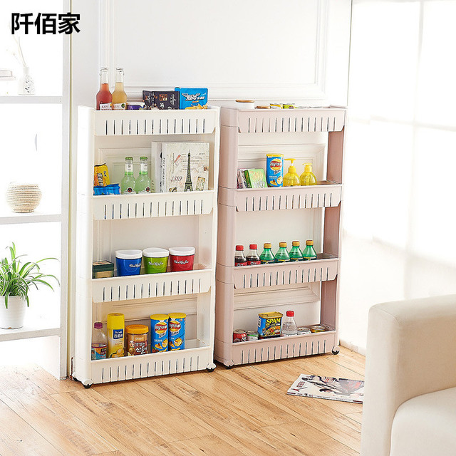 US $47 06 11% OFF|3/4 Layer Multifunction PP Pulley Storage Rack Plastic  Storage Wheel Shelf For Kitchen Living Room Bathroom Snacks Toys Holder-in
