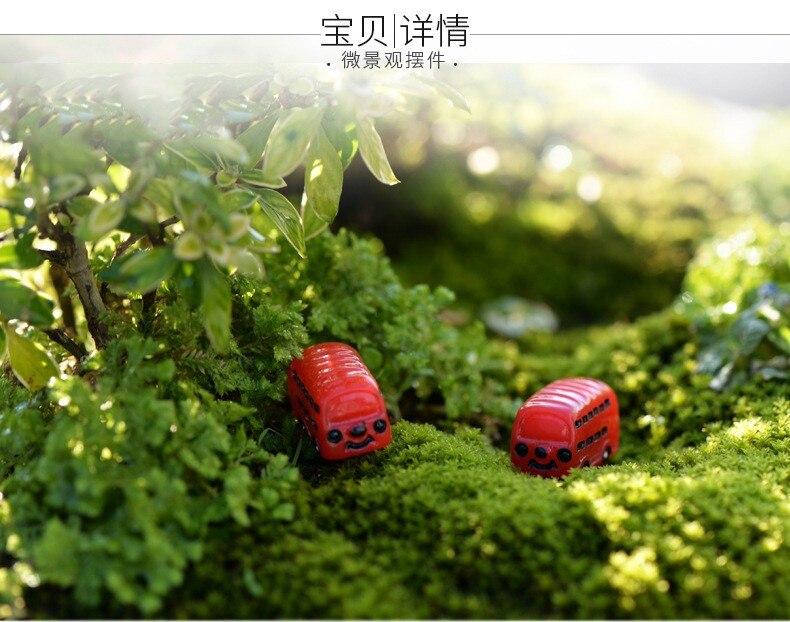 1Pcs Red Bus DIY Resin Fairy Garden Craft Decoration Miniature Micro Gnome Terrarium Gift F0044