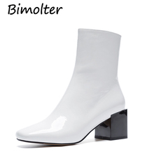 Bimolter Patent Leather Boots Women Brand Style Zip Shoes Botas Wrinkle Leather High Heels Ankle Boots Black White Shoes LASB013 цены онлайн