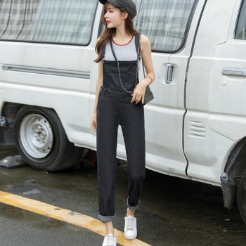 S-5XL Washed Denim Overalls Women Casual Plus Size Loose Black Jumpsuit Pants Thin Strap Fit Jeans Maxi Rompers Ladies Fashion plus size women in overalls