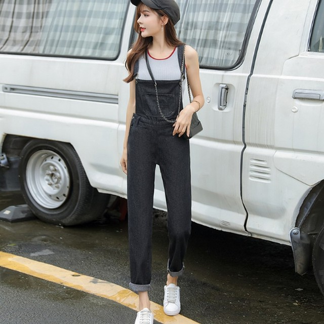 4b8f1c060439 S-5XL Washed Denim Overalls Women Casual Plus Size Loose Black Jumpsuit  Pants Thin Strap Fit Jeans Maxi Rompers Ladies Fashion