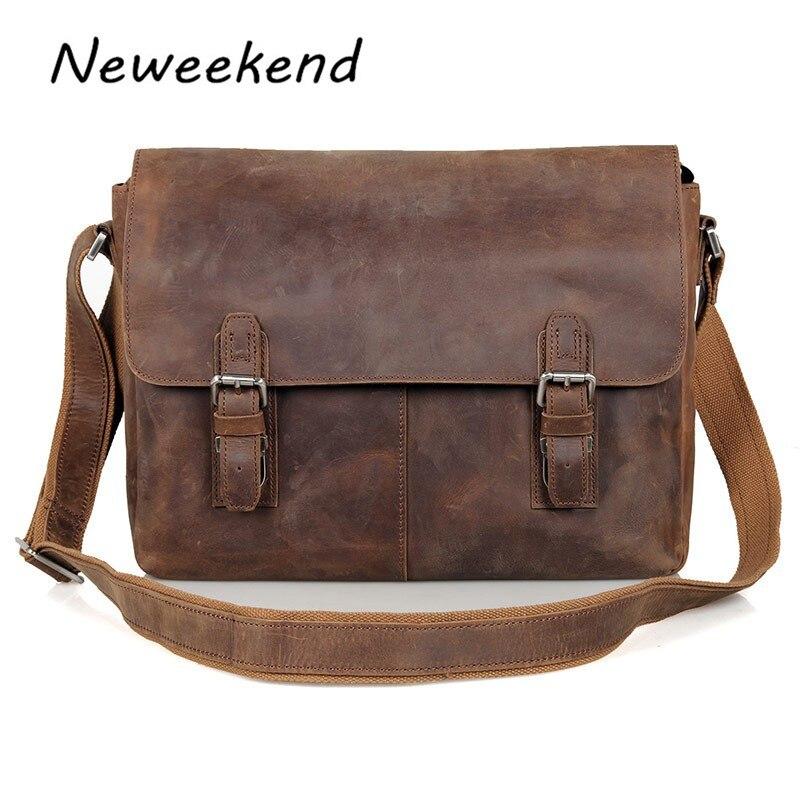 Shoulder Male Bag Genuine Leather Vintage Men s Messenger Crazy Horse Crossbody Bag Leisure Cowhide Business
