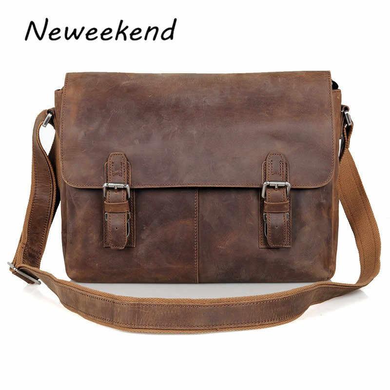 61a8aa7ab5a3 Мужская сумка на плечо из натуральной кожи, винтажная мужская сумка-мессенджер  Crazy Horse,