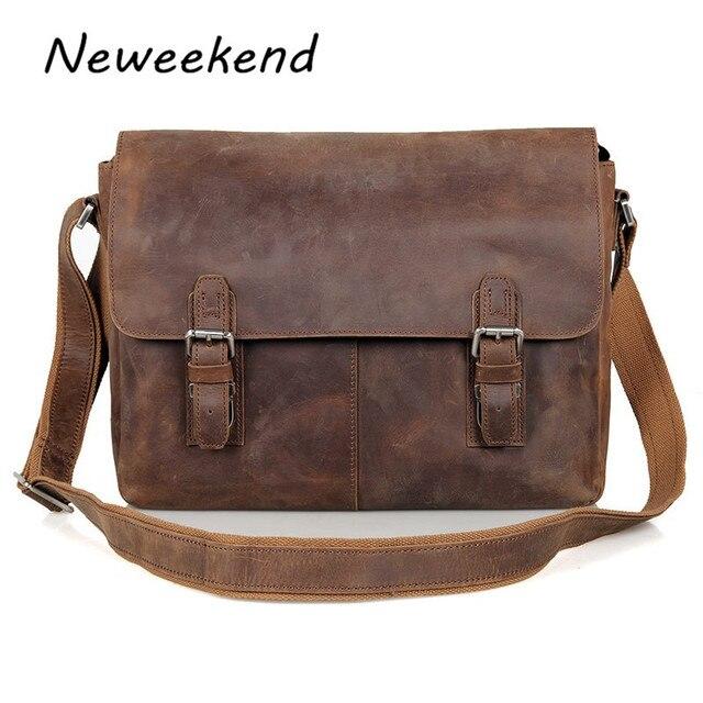 030e96e25c Shoulder Male Bag Genuine Leather Vintage Men s Messenger Crazy Horse  Crossbody Bag Leisure Cowhide Business Laptop