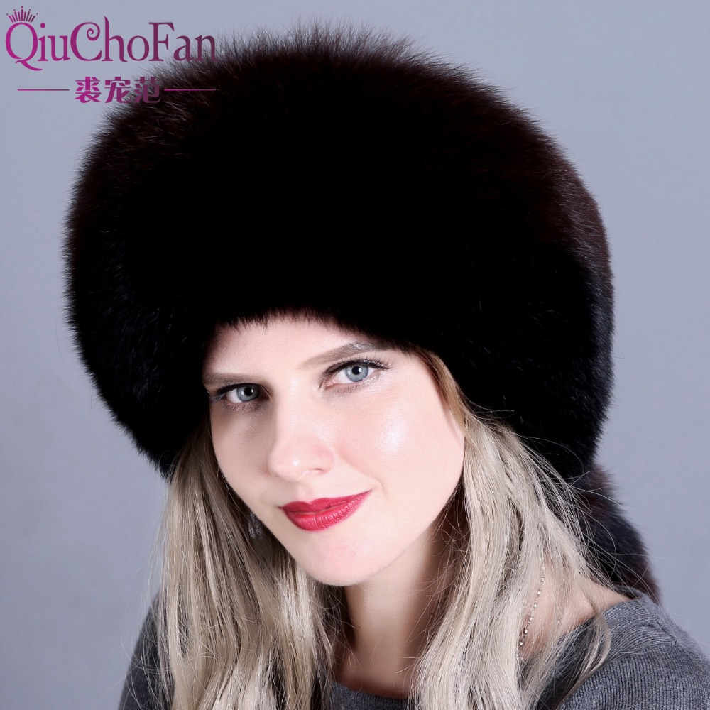 New hot winter fur hat for women real fox raccoon fur hat with leather 2018 Russia
