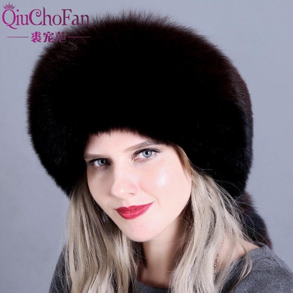 Neue Heiße Winter Pelzmütze Für Frauen Echt Fox/waschbären Pelz Hut Mit Leder 2018 Russland Mode Warme Bomber Kappe Luxus Gute Qualität