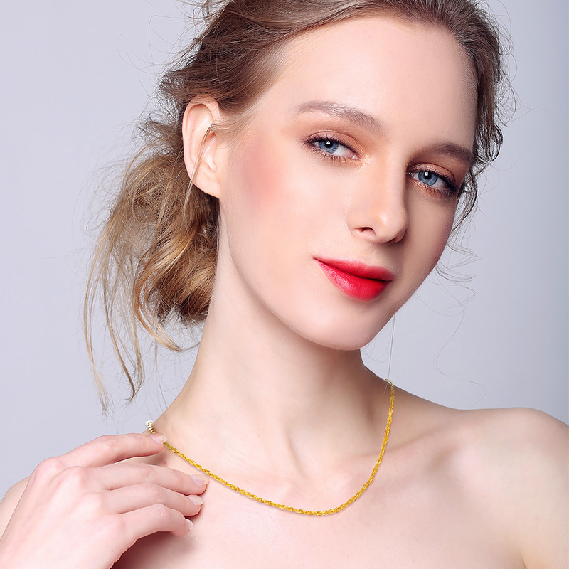 Image 5 - JJF 24K Pure Gold Necklace Real AU 999 Solid Gold Chain Brightly Simple Upscale Trendy Classic  Fine Jewelry Hot Sell New 2019-in Necklaces from Jewelry & Accessories