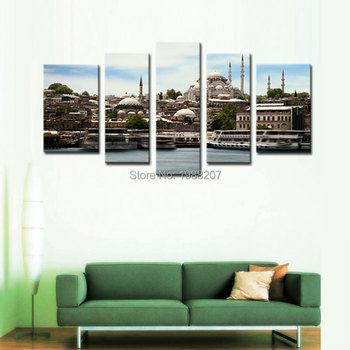 5 Panles Mosque Canvas Paintings Landscape Picture Prints Wall Art For Home Decor Istanbul