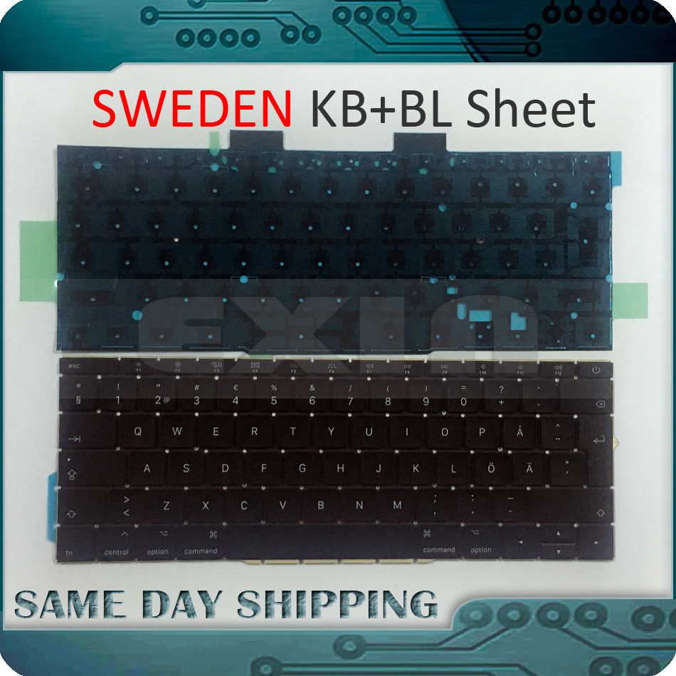 New for Macbook Pro 13 Retina A1708 Sweden Keyboard with Backlit Backlight 2016 2017 EMC 2978 EMC 3164 MLL42 MPXQ2 early 2016year new original a1534 for macbook 12 a1534 sp spain spanish keyboard without backlight backlit emc 2991