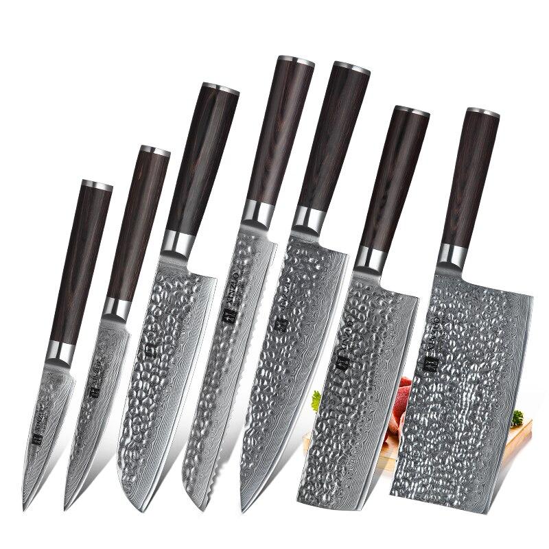 7 PCS סכיני מטבח סט VG10 דמשק פלדה גבוהה פחמן סופר חד להב בשר ירקות מטבח אביזרי ידית Pakkawood