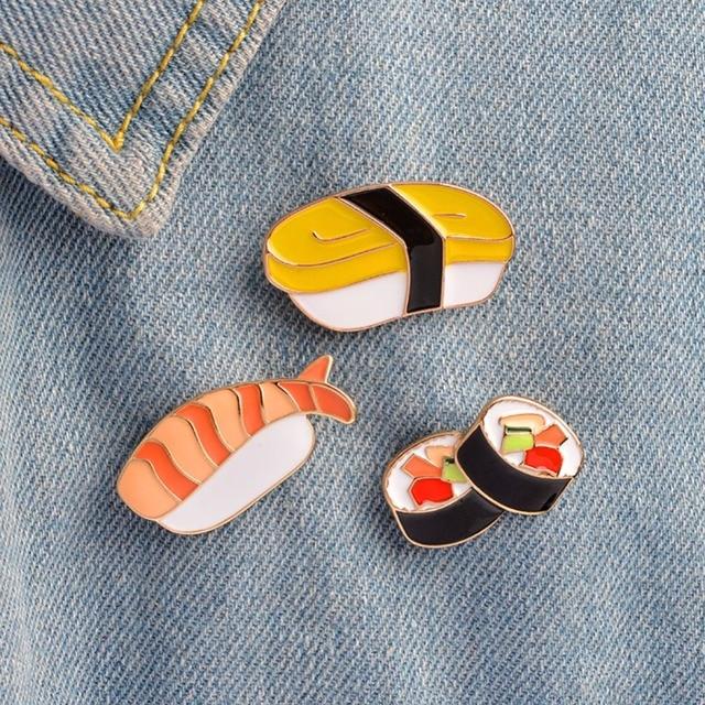 1Pc Brooch Pins Set Kawaii Sushi Pin Japanese Food Badges Cute Enamel Pin Set Gi