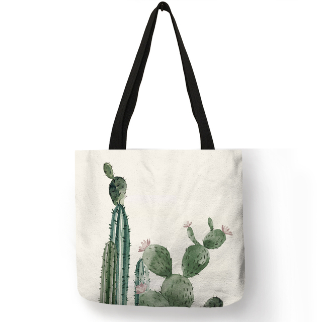 Dropship Watercolor Green Plant Cactus Tote Bag Women Fashion Fabric Handbags Linen Reusable Ping Bags With
