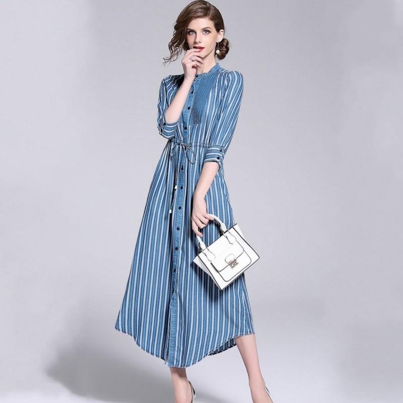 abffcda7d54 Весна Осень 2019 длинное платье для женщин в полоску Элегантные платья  офисное платье рубашка для женщин Винтаж халат Longue Femme Vestido Лидер  прода.