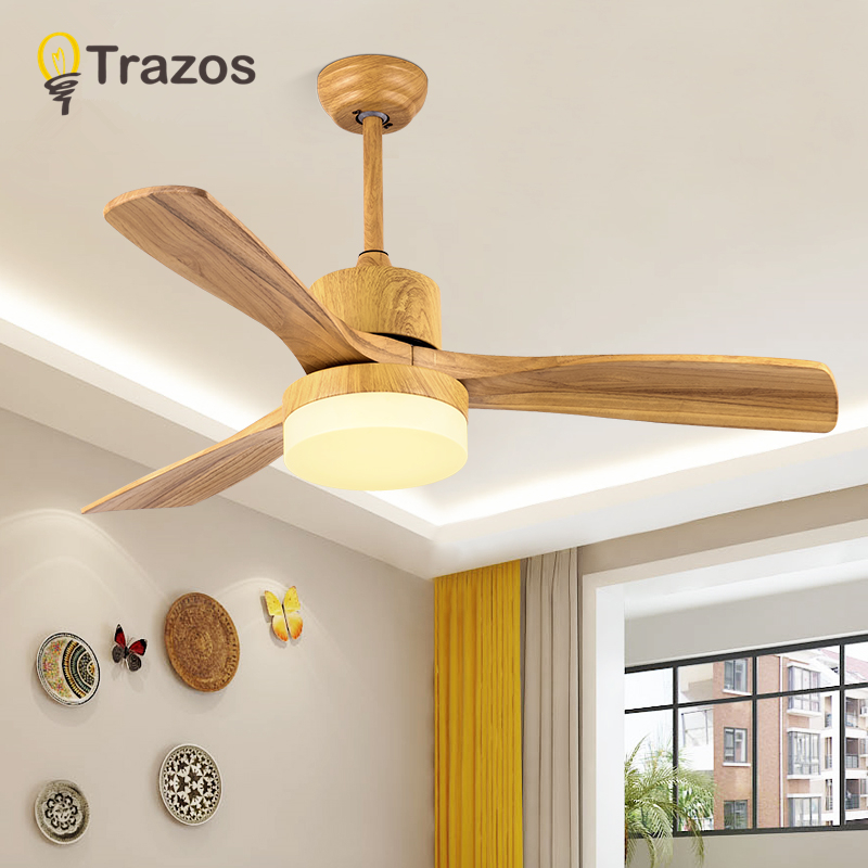 TRAZOS New Japanese Ceiling Fan For Living Room 220V Wooden Ceiling Fans With Lights 48 Inch Blades Cooling Fan Remote Fan Lamp