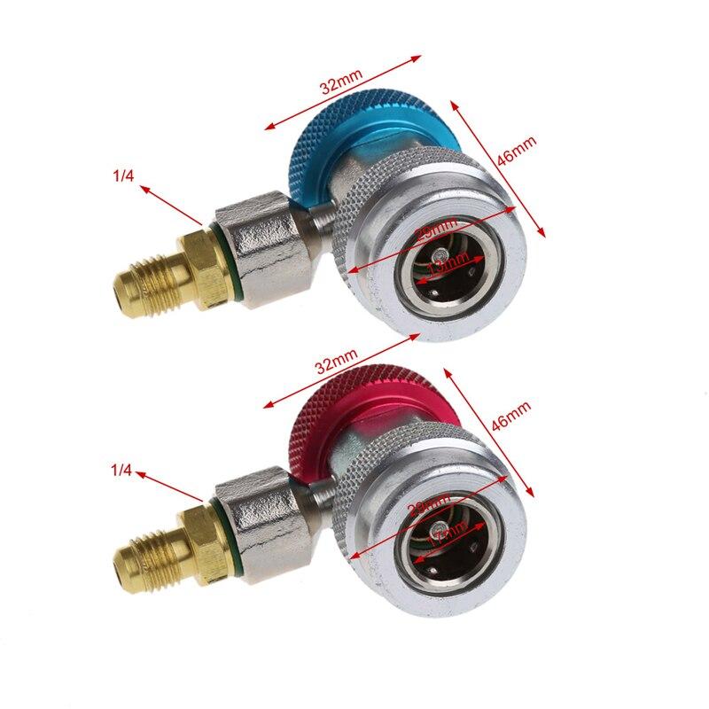 2 uds Auto Freon R134A H/L adaptadores de acoplamiento rápido de aire acondicionado refrigerante ajustable A/C conjunto de manómetro de colector QC-ML nuevo