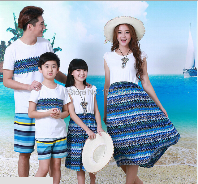 2015 Plus Size M-XXL Mother and Daughter Dress Dad Boy Clothes Sets Matching Family Matching Outfits Summer Style New MB014