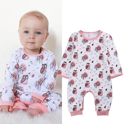 2017 Fashion Newborn Baby Boys Girls Rompers Long Sleeve Cute Owl Clothes Rompers Jumpsuit Outfits Set baby clothing newborn baby rompers baby clothing 100% cotton infant jumpsuit ropa bebe long sleeve girl boys rompers costumes baby romper