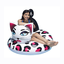 110cm Flower Cat Inflatable Tube Swimming Ring Newest Pool Float For Adult Children Floats Water Party Toys Air Mattress boia 180cm pineapple swimming float air mattress water gigantic donut pool inflatable floats pool toys swimming float adult floats