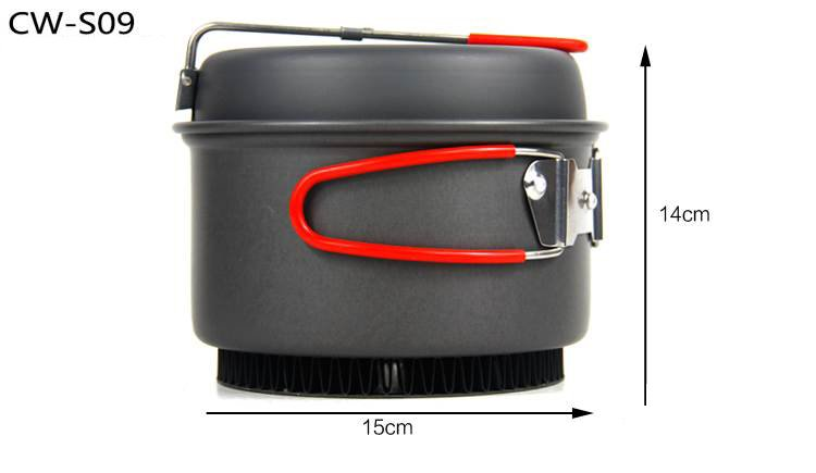 2-3 Person 2pcs Hard Anodized Camping Cookset Camping Cookware 600g 1.4L with Pot or fly pan CW-S09 kingcamp hard anodized aluminum 6 pcs camping cookware includes pots
