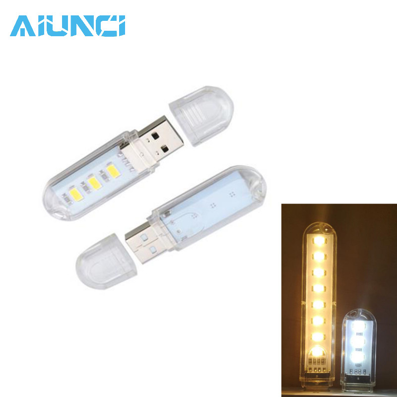 Mini Protable USB Night Light 3leds/8leds 5730 SMD Book Lights 5V For PC Laptops Computer Mobile Power Camping Lamp Tubes