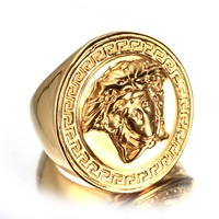 Europe And The United States Stainless Steel Ring Men S Beauty Ring Gold Medusa Titanium Steel
