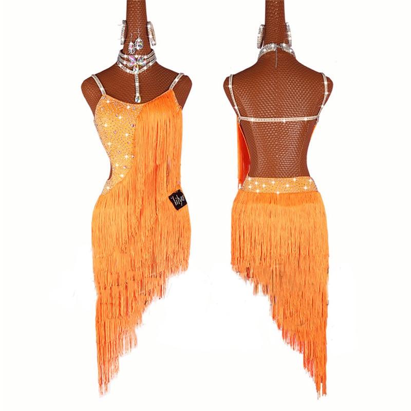 Fringe Dress Latin Dance Dress Women Yellow Orange Tassels Ballroom Salsa Dress Ballroom Tango Professional Dance Costume BL1424
