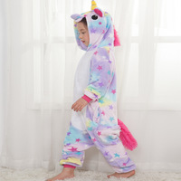 2018 New Children Kid Rainbow Star Unicorn Pajamas Winter Pyjamas Flannel Hooded Pajama Sets Animal Sleepwear