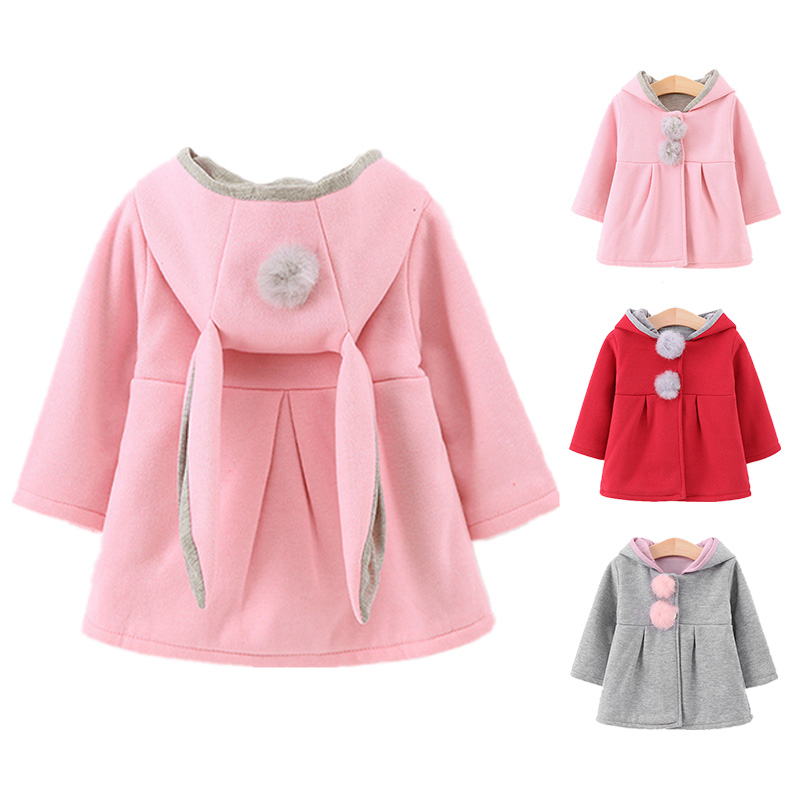 2c49f9be5dfd 2018 Autumn Winter Baby Outerwear Infants Girls Cute Rabbit Hooded ...