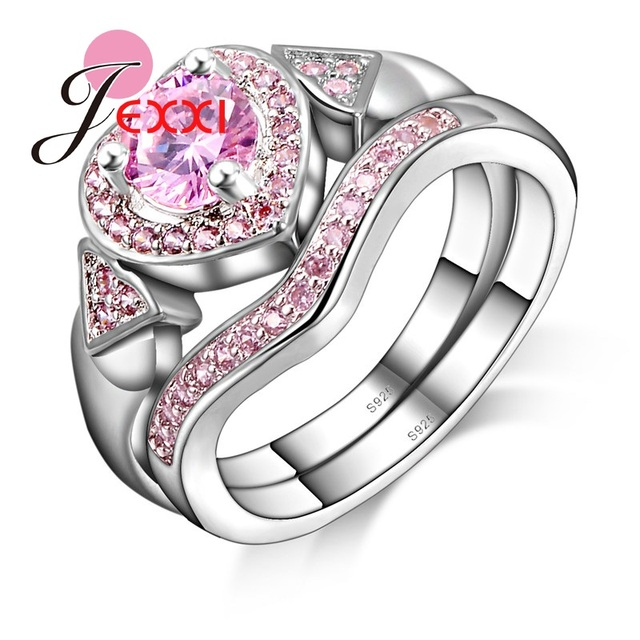 JEXXI Pretty Cubic Zirconia Cute Love Heart Wedding Rings Set 2 PCS 925  Sterling Silver Fashion