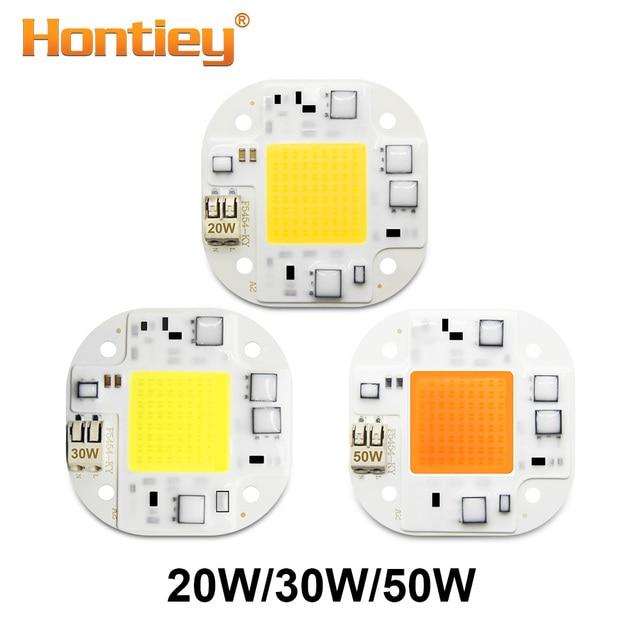 Hontiey LED COB Chip 220V 110V Smart IC No Need Driver Bulb Flood Light 20W 30W 50W Warm White Plant Growth Spotlight Lighting