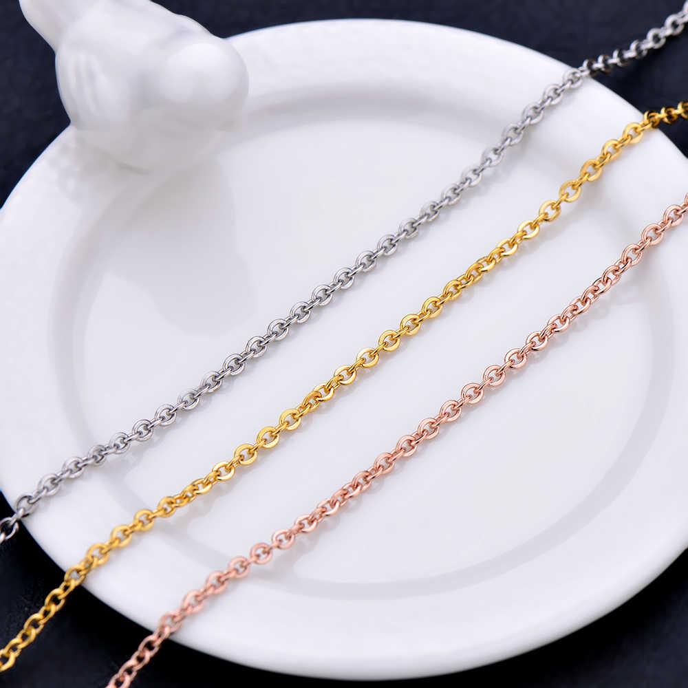 Ze stali nierdzewnej srebrny złota róża kolor złoty łańcuch naszyjnik moda biżuteria dla kobiet pasuje wisiorek 1.6 MM 2 MM 2.3 MM długość 45 + 5 CM