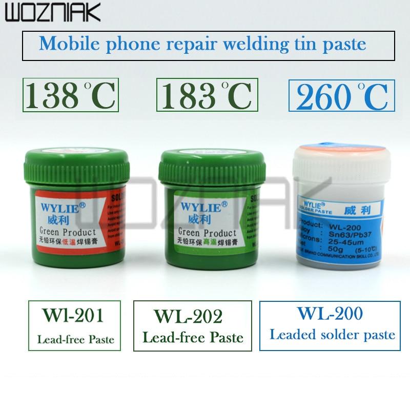 Soldadura libre de plomo pasta de soldadura de estaño para iPhone de lodo baja temperatura 138 Protección del Medio Ambiente de estaño barro CPU Estaño