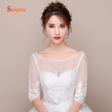 Shiny Sequins Lace Appliques Wedding Jacket for Bridal Scoop Neck Half  Sleeve Bridal Wraps Women Wedding 19f450a82d29