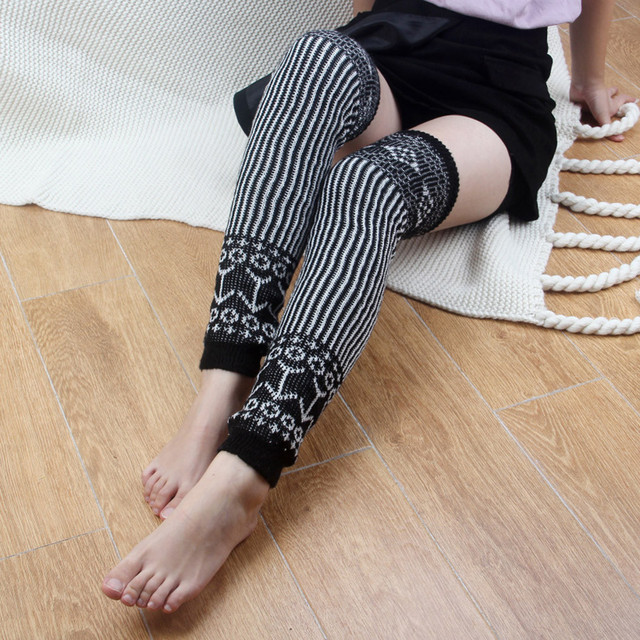 a1bffbda7 christmas new fashion 1 Pair Leg Warmers woman striped casual sock winter  warm casual Warm Knitted socking Long Socks Crochet