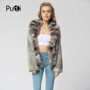CR072 Knitted real rabbit fur coat overcoat jacket with fox fur collar Russian women\'s winter thick warm genuine fur coat - Category 🛒 Women\'s Clothing