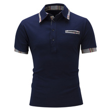 New Arrival Summer Mens Stripe splicing polo shirt New Dressed Short Sleeve Polo Shirt Men's Turn Down Collar tee